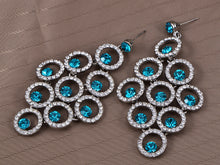 Load image into Gallery viewer, Swarovski Crystal Element Aqua Blue Colored Circle Grape Dangle Earrings