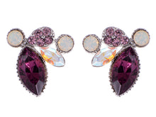 Load image into Gallery viewer, Swarovski Crystal Purple Deep Amethyst Petal Cluster Marquise Earring