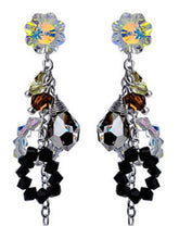 Load image into Gallery viewer, Swarovski Crystal Element Silver Multicolored Spiral Cluster Flower Prism Beaded Dangle Earrings