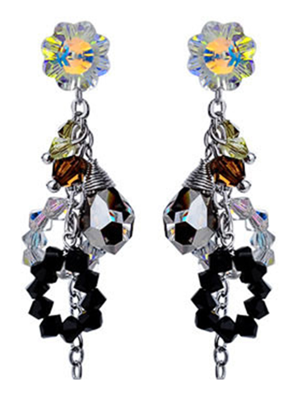 Swarovski Crystal Element Silver Multicolored Spiral Cluster Flower Prism Beaded Dangle Earrings