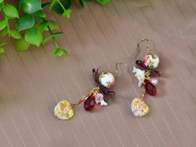 Load image into Gallery viewer, Swarovski Crystal Element Gold Multicolored Oriental Dove Heart Beaded Dangle Earrings