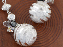 Load image into Gallery viewer, Swarovski Crystal Element Silver Retro Disco Striped Ball Beaded Dangle Earrings
