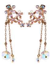 Load image into Gallery viewer, Swarovski Crystal Element Gold Iridescent Daisy Cluster Flower Chain Drop Earrings