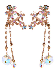 Swarovski Crystal Element Gold Iridescent Daisy Cluster Flower Chain Drop Earrings