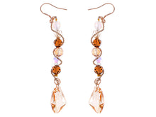 Load image into Gallery viewer, Swarovski Crystal Element Gold Topaz Colored Beads Spiral Dangle Drop Fish Hook Earrings