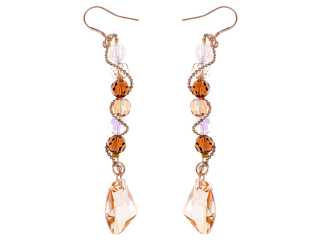 Swarovski Crystal Element Gold Topaz Colored Beads Spiral Dangle Drop Fish Hook Earrings