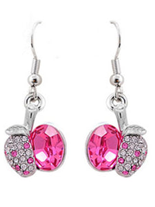 Element Silver Rose Pink Colored Apple Fruit Dangle Earrings