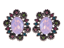 Load image into Gallery viewer, Swarovski Crystal Element Gun Multicolored Opal Floral Wreath Stud Earrings