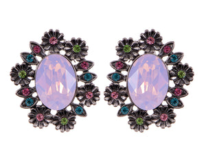 Swarovski Crystal Element Gun Multicolored Opal Floral Wreath Stud Earrings