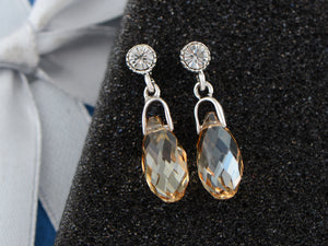 Swarovski Crystal Element Silver Light Topaz Orange Colored Teardrop Dangle Earrings