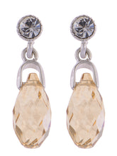 Load image into Gallery viewer, Swarovski Crystal Element Silver Light Topaz Orange Colored Teardrop Dangle Earrings