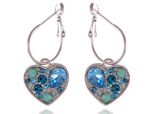 Load image into Gallery viewer, Swarovski Crystal Bright Aquamarine Heart Tiny Drop Jewel Earrings