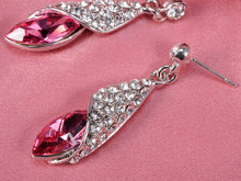 Load image into Gallery viewer, Swarovski Crystal Hot Pink Shell Wrap Dangle Drop Earrings