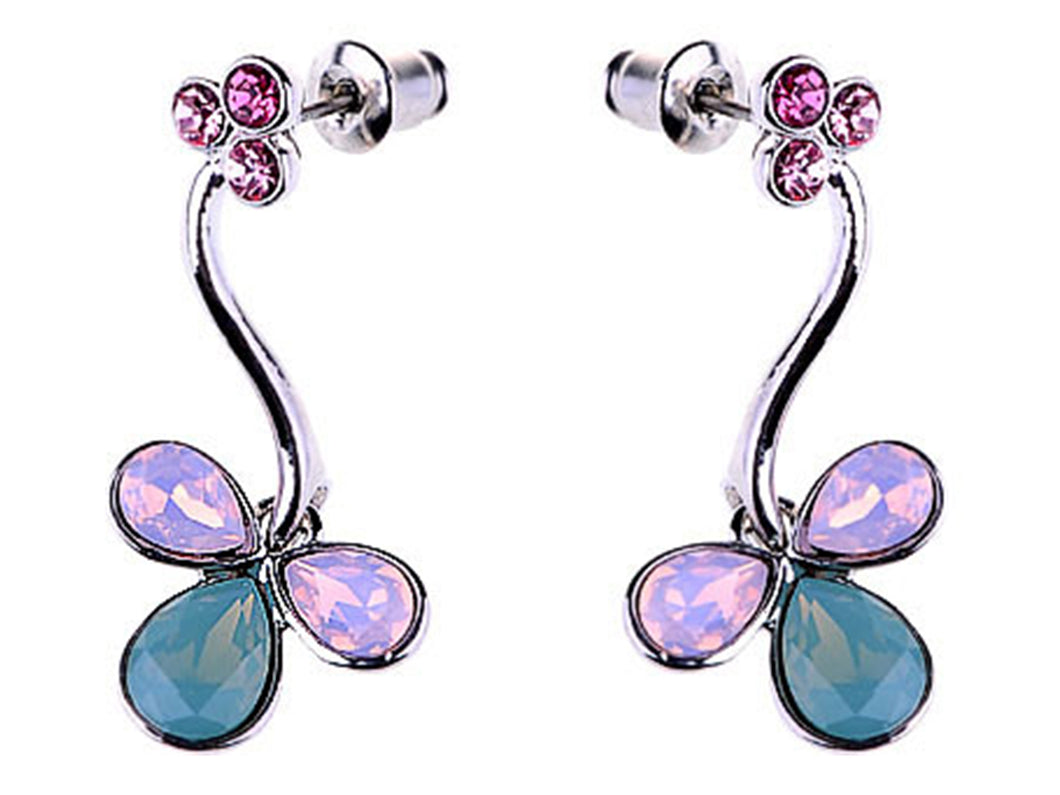 Element Silver Opal Floral Flower Tulip Vines Dangle Drop Earrings