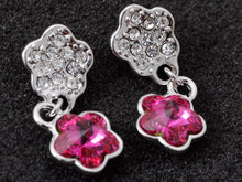 Load image into Gallery viewer, Swarovski Crystal Element Silver Violet Purple Floral Flower Stud Earrings