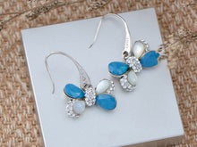 Load image into Gallery viewer, Swarovski Crystal Butterfly Dangle Earrings