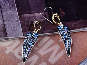 Element Multicolored Blue Spotted Leaf Feather Fish Hook Dangle Earrings