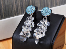 Load image into Gallery viewer, Element Silver Aqua Blue Sphere Cluster Dangle Drop Earrings