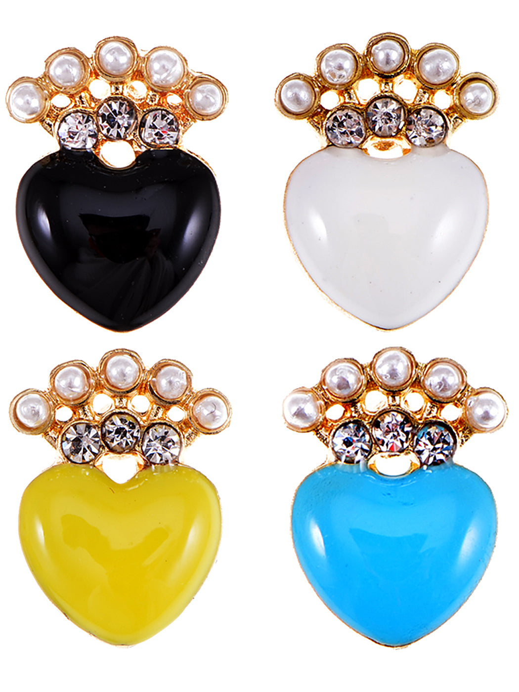 Pearl Enamel Crown Heart Stud Earrings Set