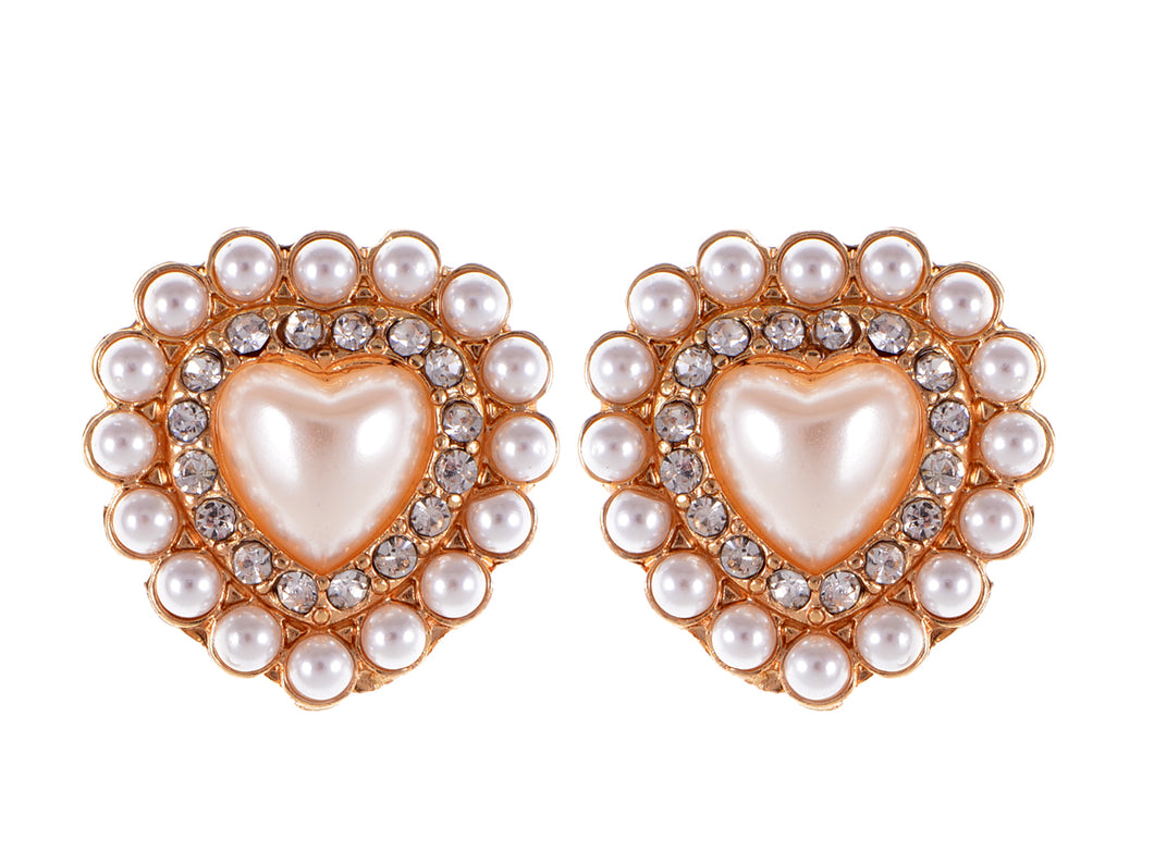 Element Gold Vintage Pearl Heart Stud Earrings