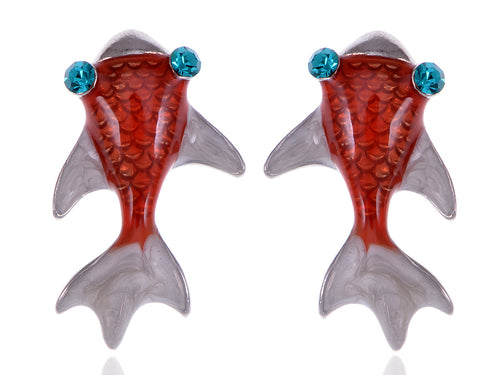 Alilang Womens Swarovski Crystal Element Silver Tone Red Nautical Large Japanese Koi Fish Stud Earrings