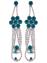Load image into Gallery viewer, Swarovski Crystal Element Silver Teal Blue Colored Floral Dangle Drop Earrings