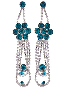 Swarovski Crystal Element Silver Teal Blue Colored Floral Dangle Drop Earrings