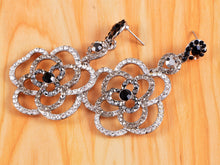 Load image into Gallery viewer, Swarovski Crystal Element Silver Black Grey Floral Rose Dangle Earrings