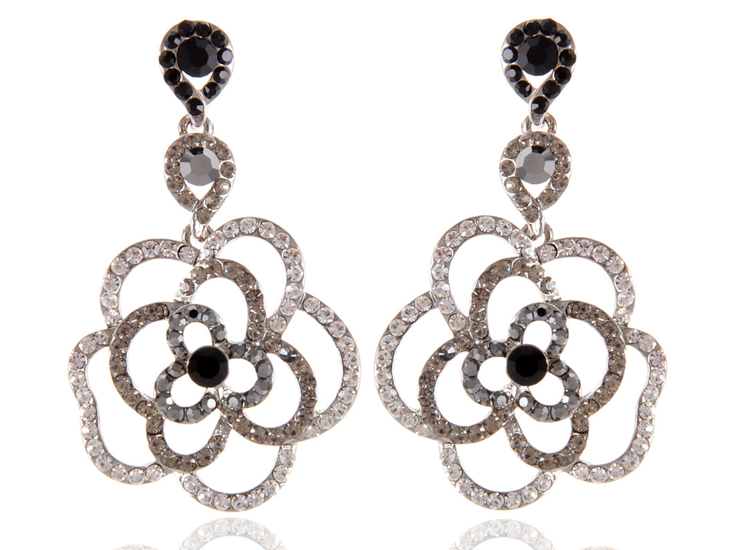 Swarovski Crystal Element Silver Black Grey Floral Rose Dangle Earrings