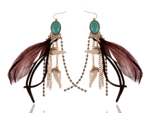Load image into Gallery viewer, Vintage Turquoise Feather Tusk Beaded Chocolate Brown Earrings