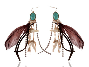 Vintage Turquoise Feather Tusk Beaded Chocolate Brown Earrings
