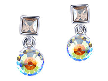 Load image into Gallery viewer, Element Silver Aurora Borealis Colored Cube Mini Stud Earrings