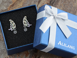 Swarovski Crystal Element Silver Pastel Butterfly Stud Earrings