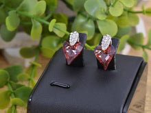 Load image into Gallery viewer, Swarovski Crystal Element Silver Topaz Colored Love Heart Spade Stud Earrings