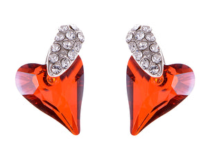 Swarovski Crystal Element Silver Topaz Colored Love Heart Spade Stud Earrings