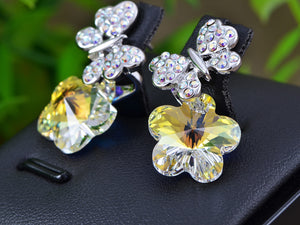 Swarovski Crystal Element Silver Aurora Borealis Colored Butterfly Flower Stud Earrings