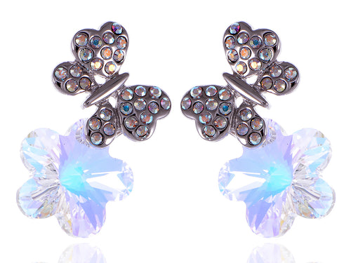 Element Silver Aurora Borealis Colored Butterfly Flower Stud Earrings