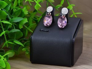 Swarovski Crystal Element Silver Amethyst Purple Colored Oval Stud Earrings