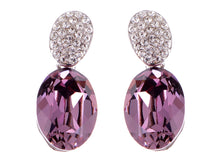 Load image into Gallery viewer, Swarovski Crystal Element Silver Amethyst Purple Colored Oval Stud Earrings