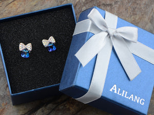 Swarovski Crystal Element Silver Sapphire Blue Colored Cube Bow Ribbon Stud Earrings