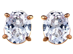 Swarovski Crystal Element Gold Basic Colored Oval Stud Earrings