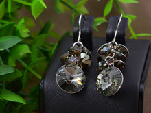 Load image into Gallery viewer, Swarovski Crystal Black Diamond Colored Cluster Burst Dangle Earrings