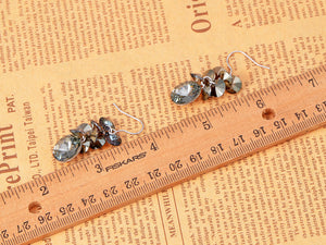 Swarovski Crystal Black Diamond Colored Cluster Burst Dangle Earrings