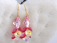 Load image into Gallery viewer, Swarovski Crystal Element Silver Rose Pink Colored Cluster Gems Fish Hook Dangle Earrings