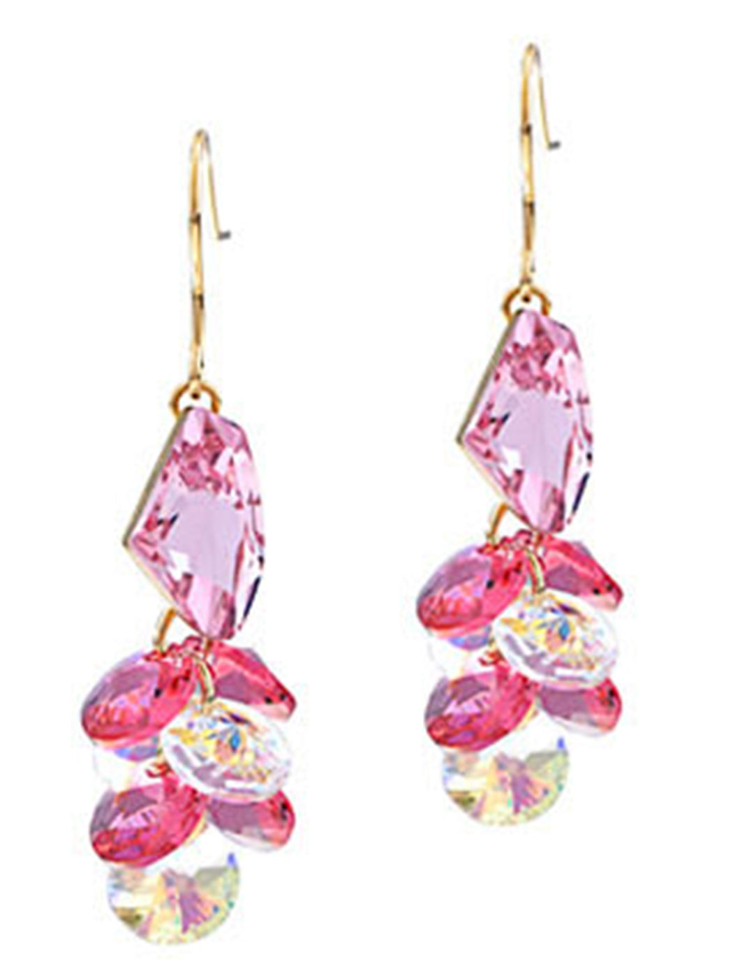 Swarovski Crystal Element Silver Rose Pink Colored Cluster Gems Fish Hook Dangle Earrings