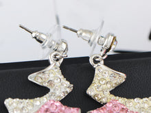 Load image into Gallery viewer, Swarovski Crystal Element Silver Pink Retro Lightening Bolt Dangle Earrings