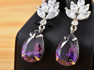 Swarovski Crystal Element Silver Purple Teardrop Leaf Dangle Earrings