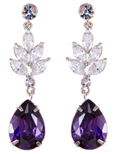 Load image into Gallery viewer, Swarovski Crystal Element Silver Purple Teardrop Leaf Dangle Earrings