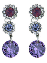 Load image into Gallery viewer, Swarovski Crystal Element Silver Purple Floral Flower Daisy Dangle Earrings