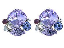 Load image into Gallery viewer, Swarovski Crystal Element Silver Purple Peaceful Dove Stud Earrings